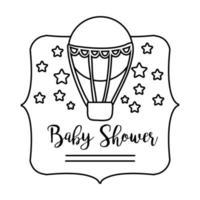 lettrage de douche de bébé avec l'icône de style de ligne chaude d'air de ballon vecteur