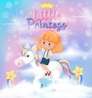 petite fille équitation pégase avec petite police princesse dans le ciel vecteur