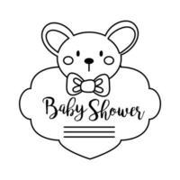 lettrage de douche de bébé avec style de ligne koala vecteur