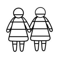 communauté lgbtiq avec icône de style de ligne de figures lesbiennes vecteur