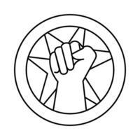 manifestation de poing à la main avec l'icône de style de ligne de démarrage vecteur