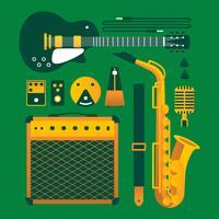 Vintage instruments de musique Knolling vecteur
