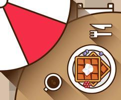 Gaufre café plat Illustration vectorielle