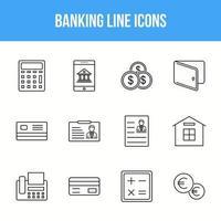 jeu d'icônes de ligne bancaire unique vecteur