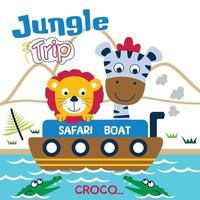 voyage safari avec lion et zèbre dessin animé drôle d'animal vecteur