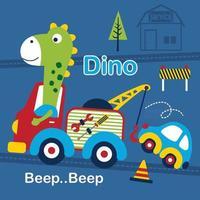 dessin animé drôle d'animal de dino et de dépanneuse vecteur