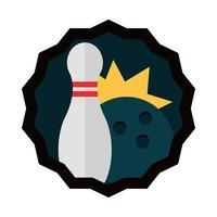 Boule noire de bowling et jeu d'épingles sport passe-temps icône plate design vecteur