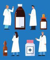 ensemble de médicaments de pharmacien vecteur