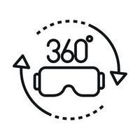 Conception d'icône de style linéaire de réalité virtuelle de lunettes de rotation de vue à 360 degrés vecteur