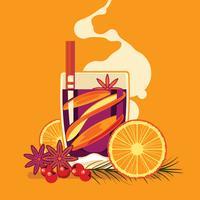 Coupe de vin chaud aux épices sur fond jaune