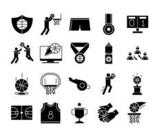 jeu de basket-ball loisirs sport silhouette style icônes définies vecteur