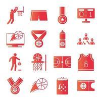 jeu de basket-ball loisirs sport jeu d'icônes de style dégradé vecteur
