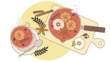 Vecteur de recette de vin chaud
