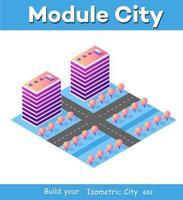 partie de quartier de bloc de module 3d isométrique vecteur
