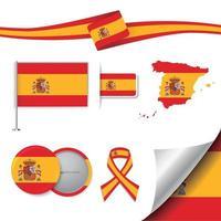 drapeau de l'espagne avec des éléments vecteur