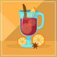 Illustration vectorielle de vin chaud plat