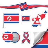 drapeau de la corée du nord avec des éléments vecteur