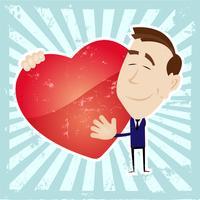 Homme amoureux tenant un coeur