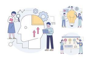experts examinant le cerveau humain et analysant le marketing d'idées. ensemble d'illustrations vectorielles minimales de style design plat. vecteur