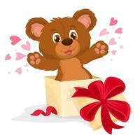 mignon ours en peluche amoureux de la Saint-Valentin ou de la carte postale de la fête des mères vecteur