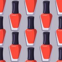 modèle sans couture avec une bouteille de vernis à ongles rouge. joli imprimé lumineux pour manucure ou salon de beauté. soins de santé des mains vecteur