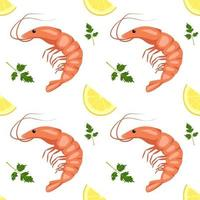 motif harmonieux de crevettes ou de crevettes, de quartiers de citron et de feuilles de persil. impression alimentaire pour textiles, papier et autres dessins. une source de vitamines et une alimentation saine vecteur