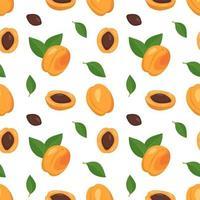 fond transparent avec abricots, graines et feuilles. un joli imprimé d'été ou de printemps avec des fruits entiers et coupés en deux. décoration festive pour textiles, papier d'emballage et design vecteur