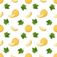 modèle sans couture avec des melons, des boucles et des feuilles. joli imprimé d'été avec des fruits entiers et demi. décoration festive pour textiles, papier d'emballage et design vecteur