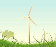 Affiche de moulins à vent de printemps et d'été