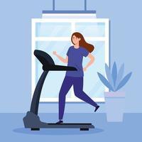exercice à la maison, femme courant sur tapis roulant, utilisant la maison comme salle de sport vecteur