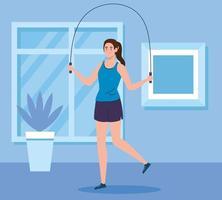 exercice à la maison, femme sautant à la corde, utilisant la maison comme salle de sport vecteur