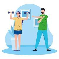 exercice à la maison, couple pratiquant l'exercice, utilisant la maison comme salle de sport vecteur