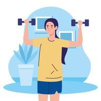 exercice à la maison, femme soulevant des poids, utilisant la maison comme salle de sport vecteur