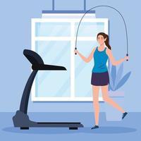 exercice à la maison, femme pratiquant l'exercice, utilisant la maison comme salle de sport vecteur