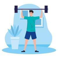 exercice à la maison, homme soulevant des poids, utilisant la maison comme salle de gym vecteur
