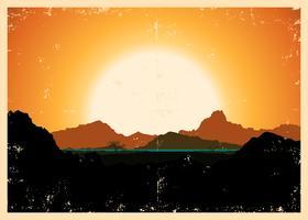 Affiche de paysage de montagnes grunge vecteur