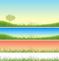 Ensemble de paysage vert printanier vecteur