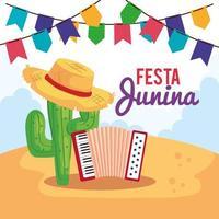 affiche festa junina avec accordéon et icônes traditionnelles vecteur