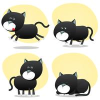 jeu de chat noir dessin animé vecteur