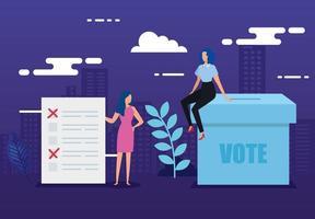 affiche de vote avec des gens d'affaires et des icônes vecteur