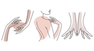 mains du corps féminin vecteur