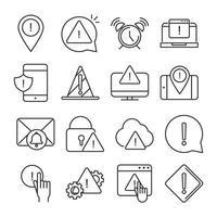 alerte attention danger point d'exclamation précaution ligne style design icônes ensemble vecteur