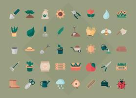 outils de jardinage paquets d'engrais de sol graines pots de fleurs plantation et processus de croissance icônes définies style icône plate vecteur