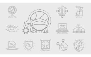 nouvelle normalité après le coronavirus comme le travail à domicile en streaming shopping en ligne style de ligne fait à la main vecteur