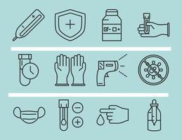 coronavirus covid 19 diagnostics recherche échantillon de test d'équipement médical et icônes de pack de conception de ligne de résultats vecteur