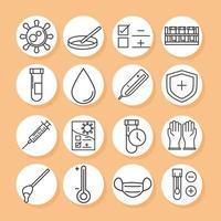coronavirus covid 19 recherche de diagnostic échantillon de test d'équipement médical et conception d'icônes de ligne de résultats vecteur