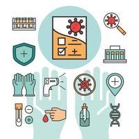 coronavirus covid 19 diagnostics recherche équipement médical échantillon de test et ligne de résultats et icônes de remplissage vecteur