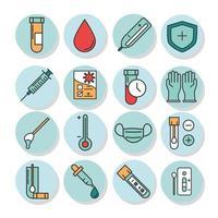 coronavirus covid 19 diagnostics recherche échantillon de test médical et ligne de résultats et icônes de remplissage vecteur