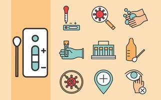 coronavirus covid 19 diagnostic recherche équipement médical test échantillon résultats et prévention icônes ligne et remplissage vecteur