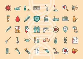 coronavirus covid 19 diagnostics recherche équipement médical échantillon de test et ligne de résultats et icônes de collection de remplissage vecteur